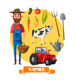 farmer profession and farm agriculture vector image