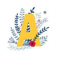 floral alphabet letter a vector image