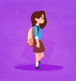 girl pupil walking to school schoolgirl small vector image
