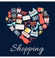 I love shopping emblem in shape of heart vector image
