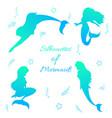 mermaids silhouettes black vector image