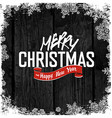 Merry Christmas Greeting on Wooden Black vector image