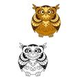 Retro stylized brown owl bird mascot vector image