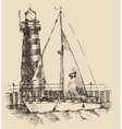 Ship and beacon vintage engraved vector image