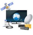 Tv with satellite equipment vector image