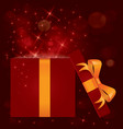 Magic light gift box open vector image