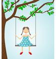 Little girl swinging vector image