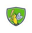 Killer Bee Baseball Player Batting Crest Cartoon vector image