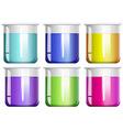 Liquid substance in glass beakers vector image