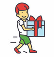 cute boy holding big gift box concept line vector image