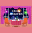 restaurant and fireworks in window vector image