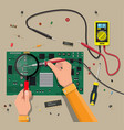 engineer with multimeter checks motherboard vector image