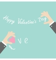 Businessman hands holding Happy Valentines day vector image