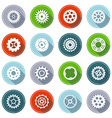 set of flat gear icons with long shadow vector image