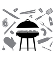 set of accessories for barbecue vector image