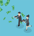 Business people chasing falling dollar money vector image