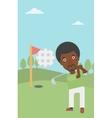 Golfer hitting the ball vector image