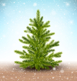 Christmas Tree in Snow on Wooden Floor on Blue vector image