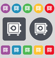Safe icon sign A set of 12 colored buttons Flat vector image