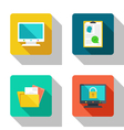 Secure computer and recruitment flat Icons vector image