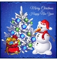 Snowman with tree and red sack with gifts vector image