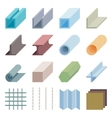 Metallurgy products icons Isometric 3d vector image