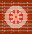 road tire sign  whitish icon on brick wall vector image
