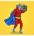 Superhero with radio cassette player vector image