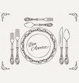 banquet tableware vintage dish with spoon fork vector image