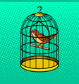 bird in cage pop art style vector image