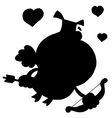 Cartoon cupid silhouette vector image