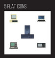 flat icon laptop set of notebook processor vector image