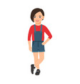 girl in a denim overalls vector image