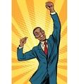 happy male businessman winner emotions vector image