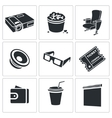 Hiking in the cinema Icons Set vector image
