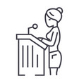 lawyer womanspeech in court line icon vector image
