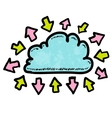 Doodle media cloud with arrows vector image vector image