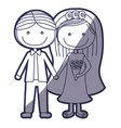 blue color contour caricature couple in wedding vector image