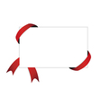 red ribbon and blank white paper with shadow vector image