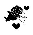 cupid angel icon black sign vector image