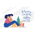 greeting card template for new year and christmas vector image