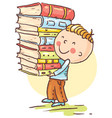 little boy is carrying a big pile of books vector image