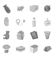 Refugees icons set monochrome style vector image