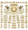 heraldic crests and crowns collection vector image