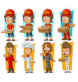 cartoon pizza delivery boy and chef character set vector image