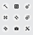 set of 9 editable mechanic icons includes symbols vector image