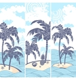 Vintage banners of the island in the ocean vector image