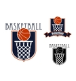 Basketball game icons with baskets and balls vector image