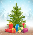 Christmas Tree with Bright Gift Boxes in Snow on vector image