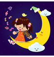 Cute Girl play music with moon at night vector image